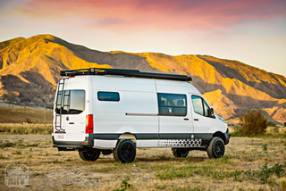 Sprinter Van Camper Rear Side View Mountains