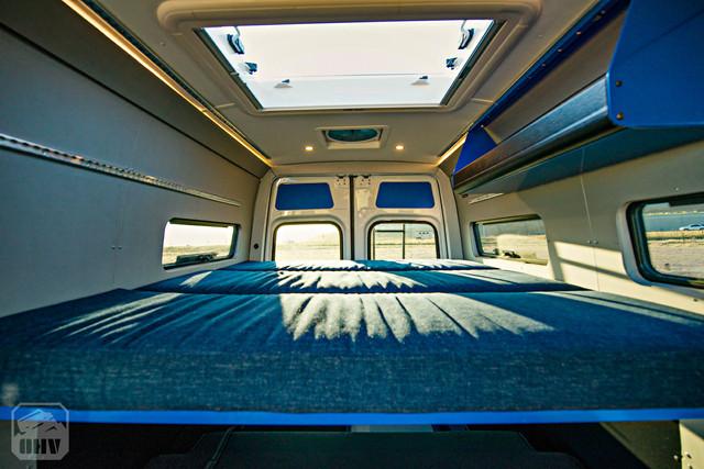 Sprinter Van Camper Bed and Skylight