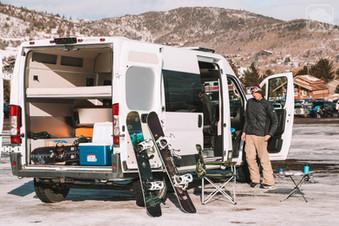 Promaster Van Camper Ski Setup