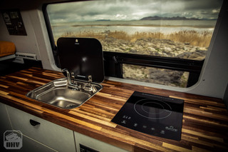 Sprinter Van Camper Sink and Induction Stove