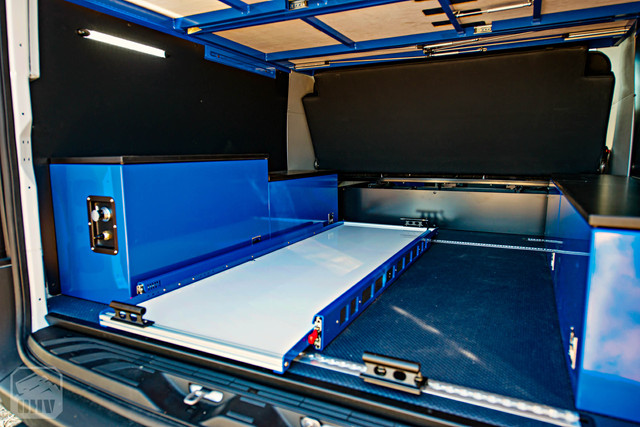 2019 Sprinter Van Camper Cargo Tray and Storage