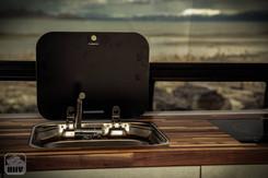 Sprinter Van Camper Sink and Induction Stovetop