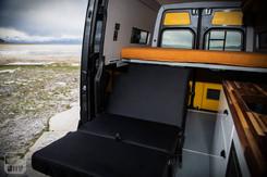 Sprinter Van Camper Passenger Bed and Convertible Seats