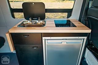 Sprinter Van Camper Sink and Stove and Countertop