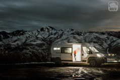 Promaster Van Camper Exterior View Nighttime