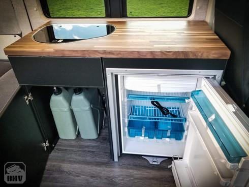 Promaster Van Camper Kitchen Coutner, Water Tanks, Refrigerator