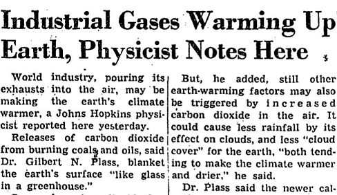 Washington Post reporting Climate Change 1953
