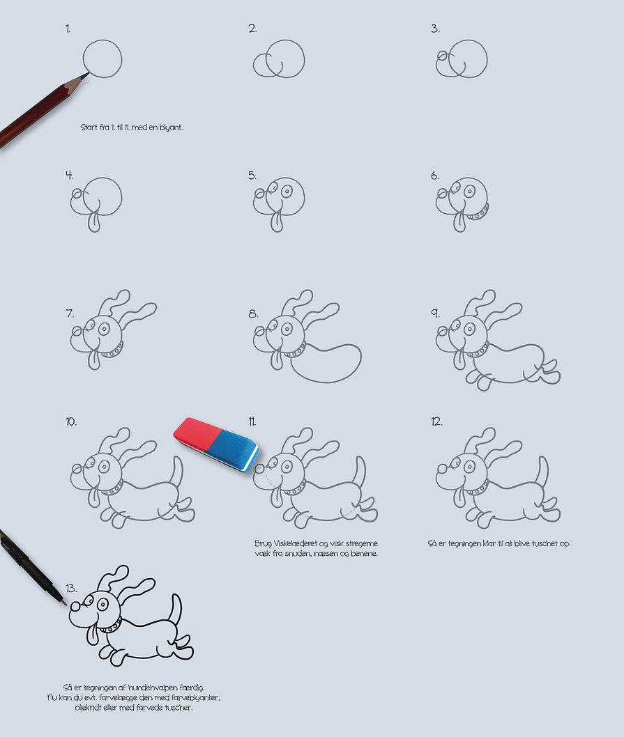 Tegn en sød hundehvalp