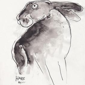 Hare i blæk (kr. 1000,-)
