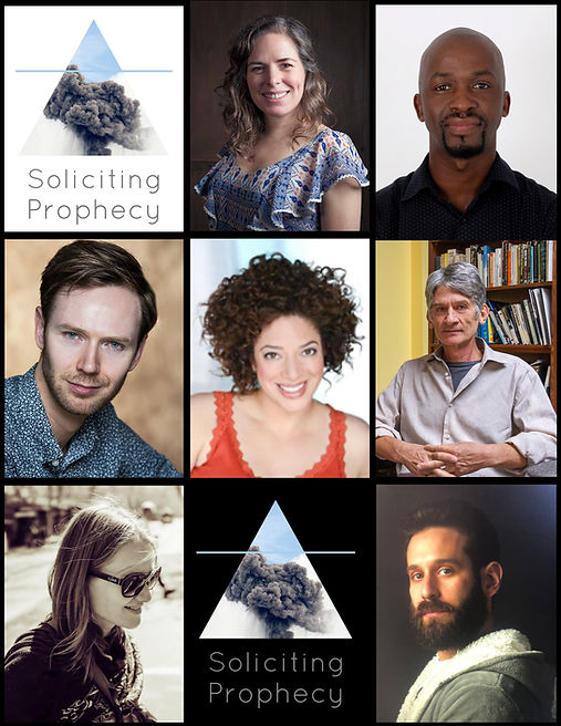 pocket prophs.jpg - A grid of 9 images, a mix of headshots and the Soliciting Prophecy project graphic. The graphic is a cloud of black smoke inside a triangle against a white or black background over the words Soliciting Prophecy.