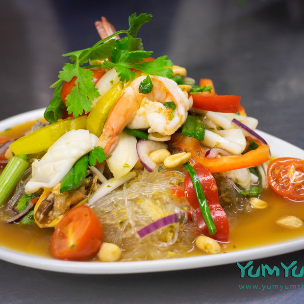 Mixed seafood salad with jelly noodles