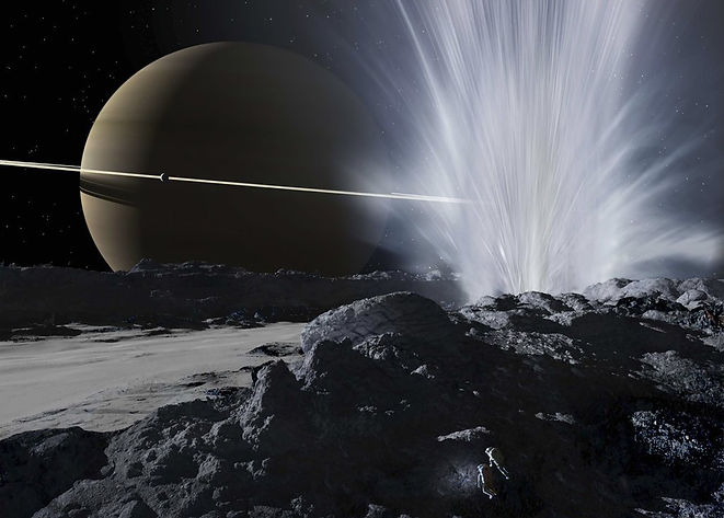 Ron Miller - Enceladus and Saturn in bac