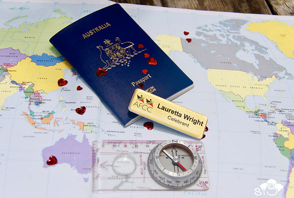 map of the world Lauretta Wright AFCC badge and passport.jpg