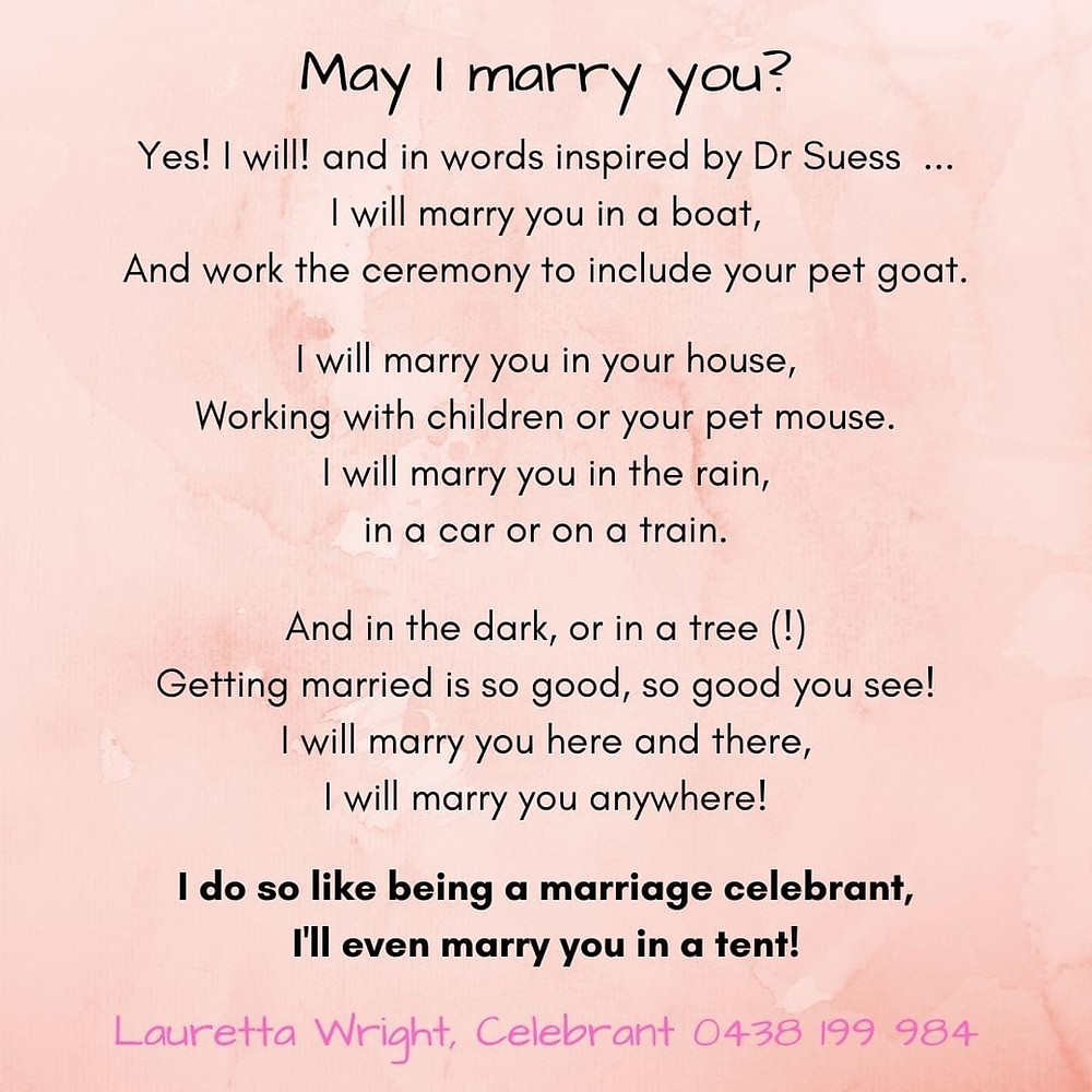 May I marry you? Yes! Yes, I will! says Lauretta Wright, Marriage Celebrant