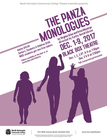 Poster for North Hennepin Community College's production of 'The Panza Monologues'