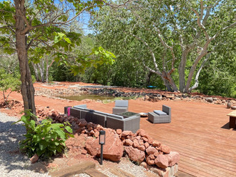 Outdoor dining and yoga space