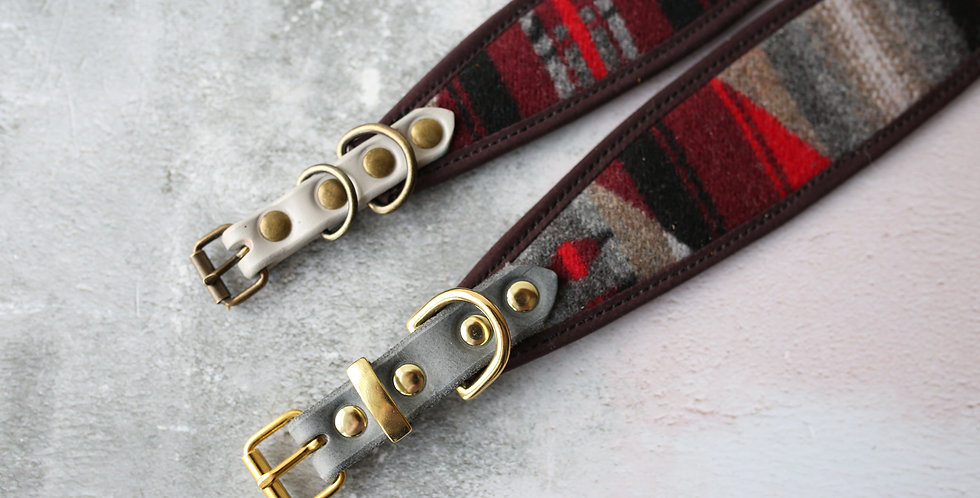 WS Pendleton and Soft Leather Collar -Spruce