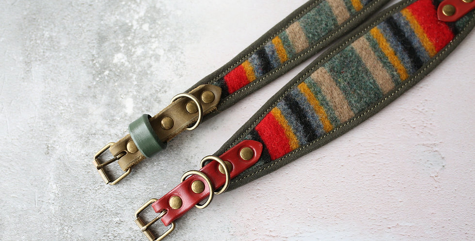 Pendleton and Soft Leather Collar - Compass
