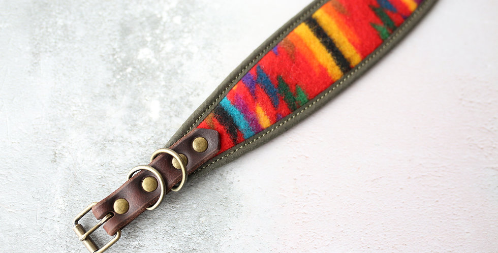 Pendleton and Soft Leather Collar - Maple