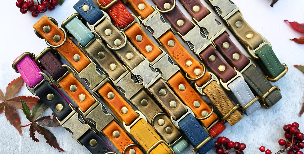 Soft Leather and Weatherproof Oilskin Clip Collars