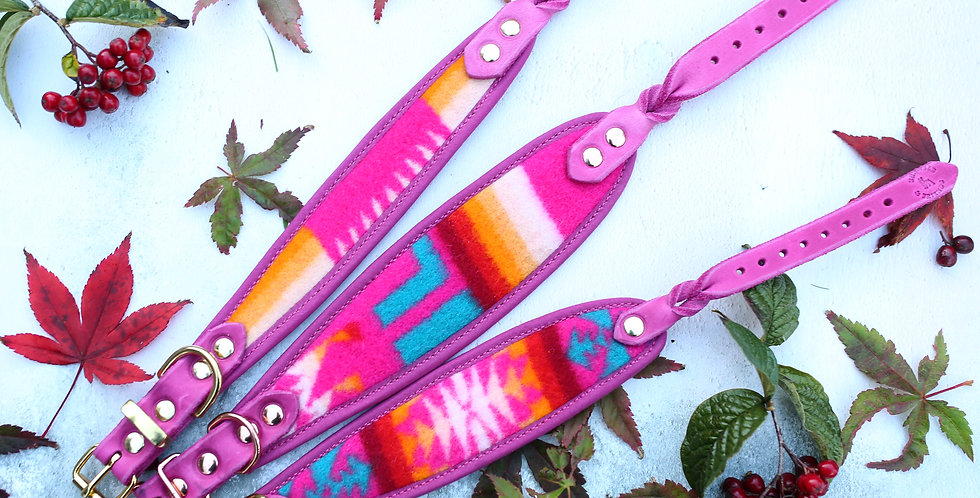 Pendleton and Soft Leather Collar - Oh So Pink