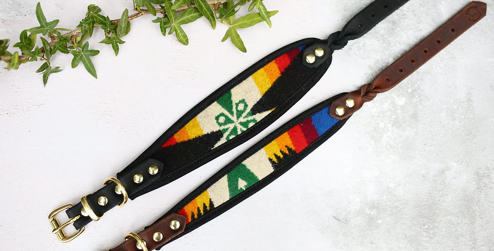 Pendleton and Soft Leather Collar - Limited Black Rainbow