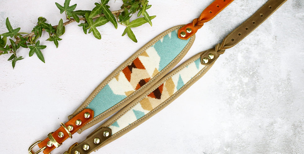 Pendleton and Soft Leather Collar - Limited Blues