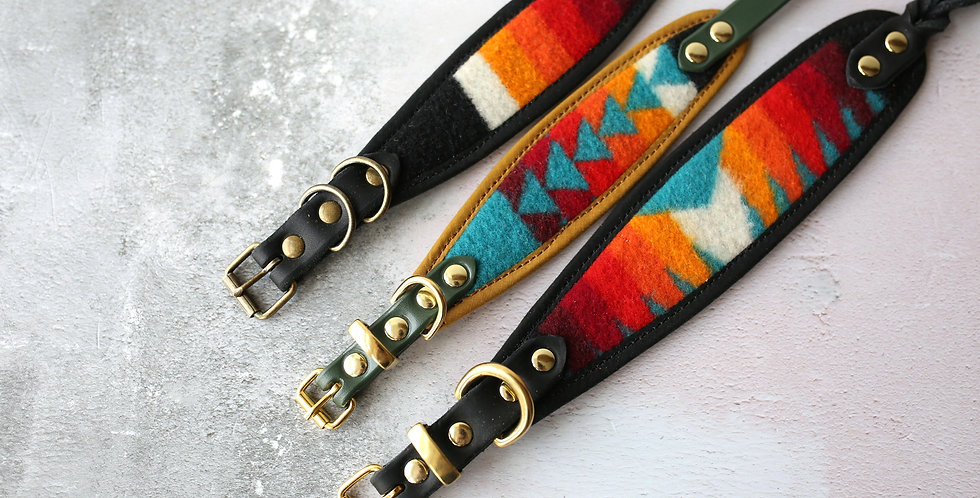 Pendleton and Soft Leather Collar - Monty