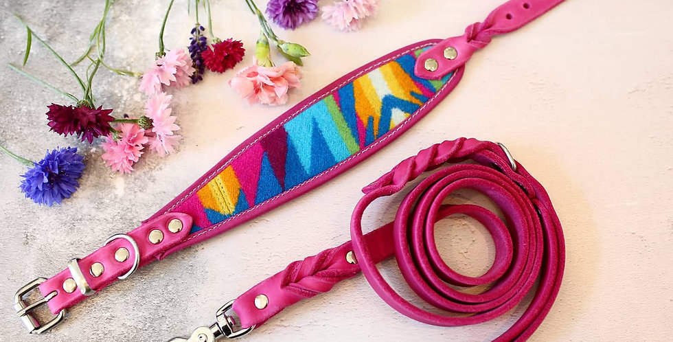 Pendleton and Soft Leather Collar - Limited Pinks