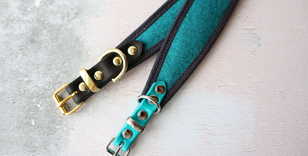 Wool and Soft Leather Collar -Turquoise