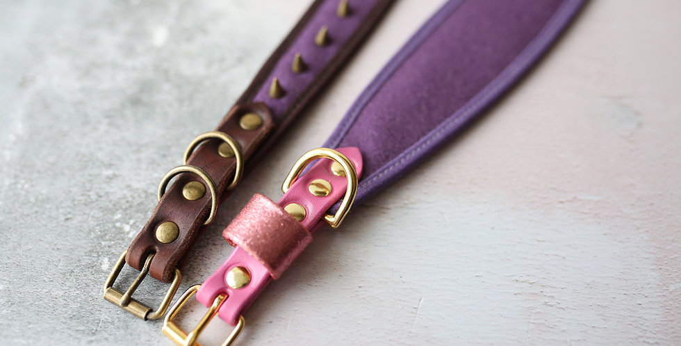 Wool and Soft Leather Collar -Damson