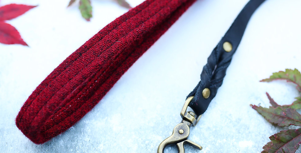 Deep Red Harris Tweed and  Soft Leather Lead