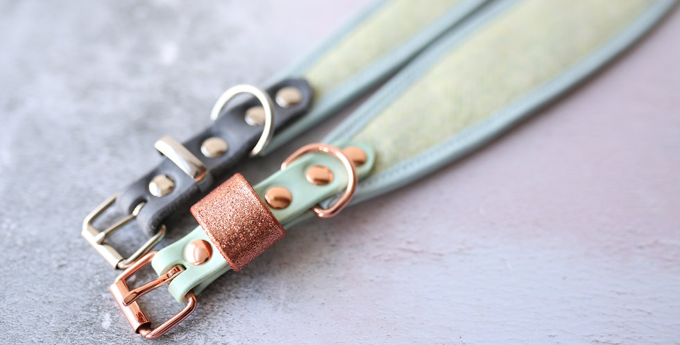 WS Wool and Soft Leather Collar - Mint