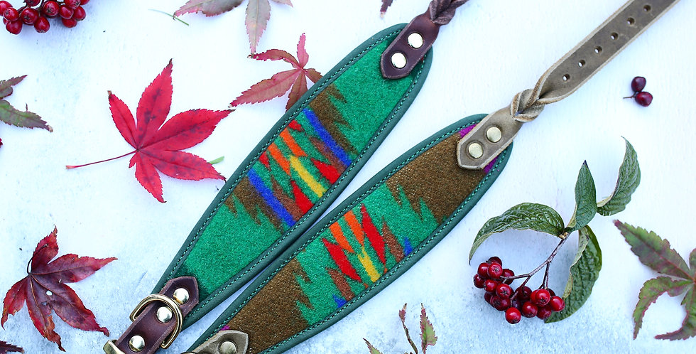 Pendleton and Soft Leather Collar - Fir