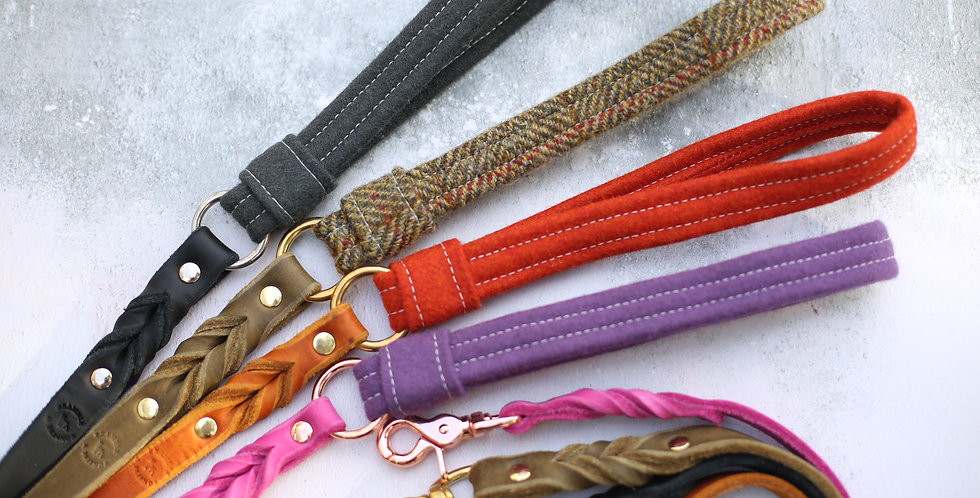 Wholesale - Wool Handled Leather Softy Clip Lead Bundle (12 leads)