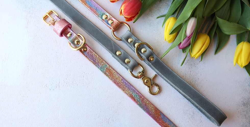 Rainbow Glitter Ombre vs. Leather Softies - Clip Leads