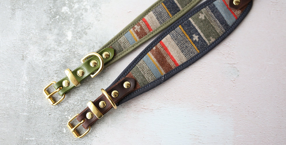 Pendleton and Soft Leather Collar - Pilot