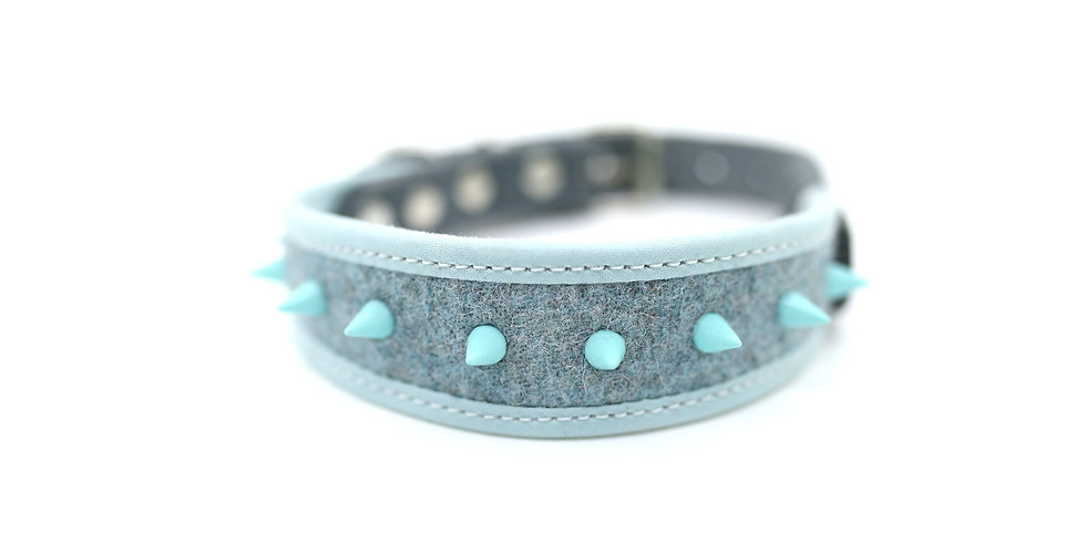 Wool and Soft Leather Collar - Dusk Blue