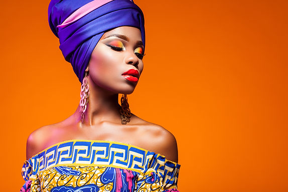 African woman in a bright dress on orang