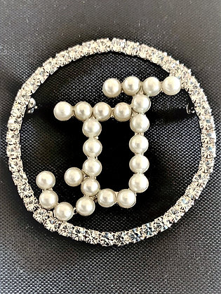 JJ Pearl and Rhinestone Pin