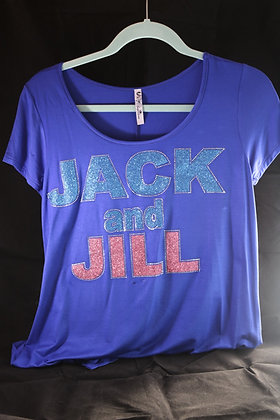 Short Sleeve Ladies Tee Shirt with Glitter Jack and Jill Design