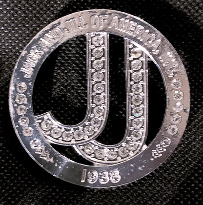 JJ Silver Circle Lapel Pin with Clear Rhinestones