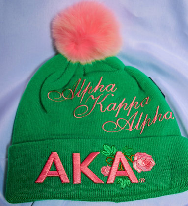 AKA Winter Hat with Pink Pom Pom