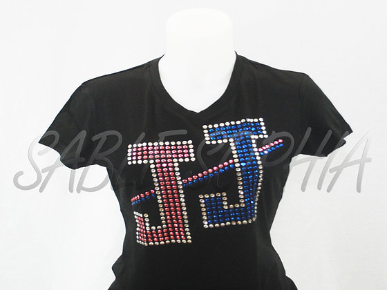 Short Sleeve Ladies JJ Color Bling Tee Shirt