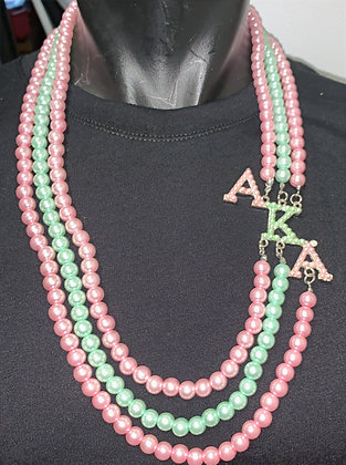 Multi-Strand Pink and Green Necklace