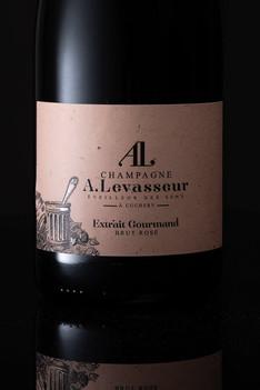 Focus étiquette de Champagne A.Levasseur