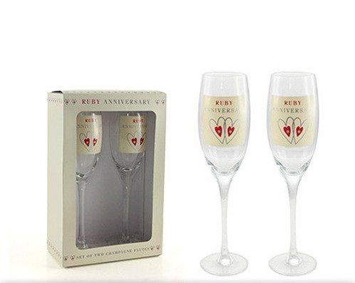 A Lovely Gift For Celebrating Their Ruby Anniversary Pair Of Tall Champagne Flutes