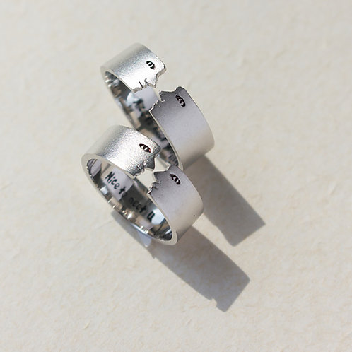 「Nice to meet you」Open Adjustable Silver Ring -Couples Ring Set