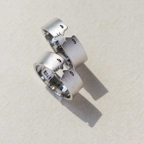 「很高興遇見你」S925銀鍍白金開口戒指-單只戒指