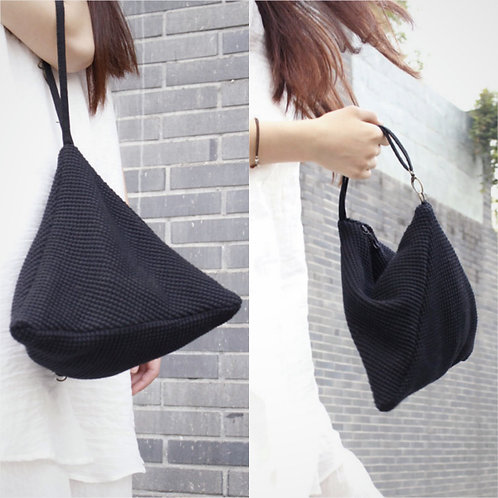 Black Knit Triangle 2 Ways Handbag